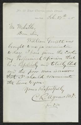 The letter is handwritten in dark brown ink on cream-colored paper. The address of origin is printed on the top fo the page. It has been folded several times and the most prominent fold divides the sheet in half vertically.