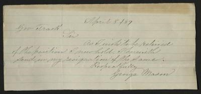The letter is handwritten in gray ink on cream-colored paper with faint blue lines. It has been folded several times.
