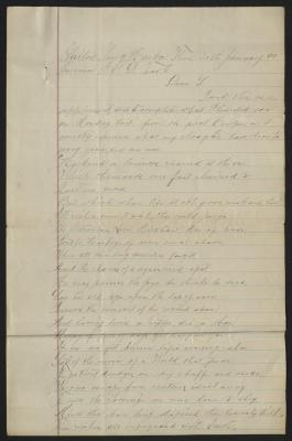 The letter is handwritten in brown ink on cream-colored paper with faint blue lines. It has been folded several times and there are tears at the edge of the paper on several of the fold lines.