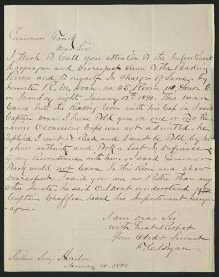 The letter is handwritten in dark brown ink on cream-colored paper with faint blue lines. It has been folded several times.