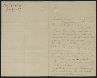 The letter is handwritten in light grayish-brown ink on cream-colored paper with blue lines. It has been folded in half; on the right half of this side of the paper is the first part of the letter. On the left half is a notation in the upper left corner with the name of the sender and the date, probably for filing purposes.