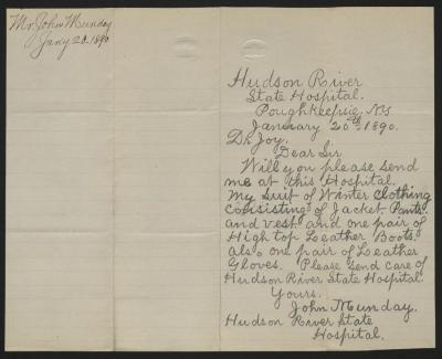 The letter is handwritten in pencil on cream-colored paper with blue lines. It has been folded in half; on the right half of this side of the paper is the letter. On the left half is a notation in the upper left corner with the name of the sender and the date, probably for filing purposes.