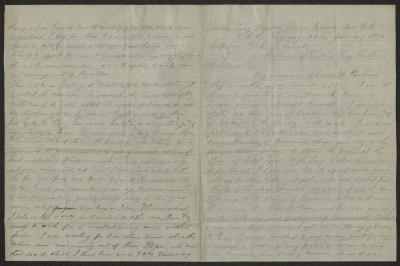 The letter is handwritten in light brownish-gray ink on cream-colored paper with blue lines. It has been folded in half; on the right half of this side of the paper is the first part of the letter. On the left half is the fourth page of the letter.