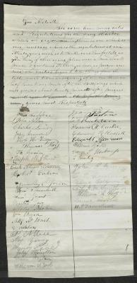 The petition is handwritten in brown ink on cream-colored paper with faint blue lines. It has been folded several times horizontally. There are several brown stains on the paper.