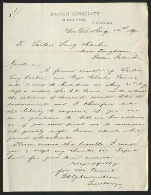 The letter is handwritten with dark brown ink on Danish Consulate letterhead, which is printed on cream-colored paper with very faint lines below the header. The sheet has been folded several times.