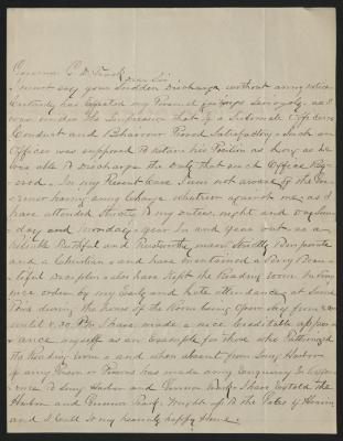 The letter is handwritten in brown ink on cream-colored paper with faint blue lines. It has been folded several times.