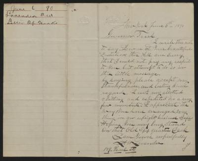 The letter is handwritten in brown ink on cream-colored paper with faint blue lines. It has been folded in half; on the right half of this side of the paper is the first page of the letter. On the left half is a notation in the upper left corner with the name of the sender, date, and subject of the inquiry, probably for filing purposes.