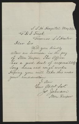 The letter is handwritten in black ink on cream-colored paper with faint blue lines. It has been folded several times and a prominent fold divides the sheet in half vertically. The right edge of the paper is roughly torn.
