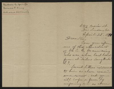 The letter is handwritten in brown ink on cream-colored paper with faint blue lines. It has been folded in half; on the right half of this side of the paper is the first part of the letter. On the left half is a notation in the upper left corner with the name of the sender, date, and subject of the inquiry, probably for filing purposes.