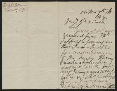 The letter is handwritten in brown ink on cream-colored paper with blue lines. It has been folded in half; on the right half of this side of the paper is the first part of the letter. On the left half is a notation in the upper left corner with the name of the sender and the date, probably for filing purposes.