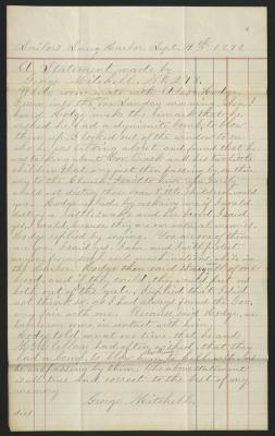 The statement is handwritten in light brown ink on blue and red lined ledger paper.