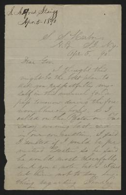 The letter is handwritten in light grayish-brown ink on cream-colored paper with faint blue lines. It has been folded several times. In the upper left corner is a notation with the name of the sender and the date, presumably for filing purposes.