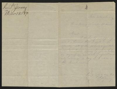 The letter is handwritten in blue pencil on cream-colored paper with blue lines. It has been folded in half; on the right half of this side of the paper is the letter. On the left half is a notation in the upper left corner with the name of the sender and the date, probably for filing purposes.