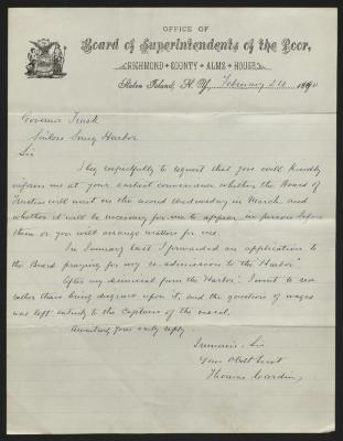 The letter is handwritten with dark brown ink on Richmond County Alms House letterhead, which is printed on cream-colored paper with blue lines below the header. The sheet has been folded several times.