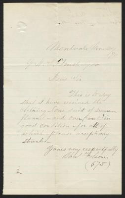 The letter is handwritten in faded brown ink on cream-colored paper with faint blue lines. It has been folded several times and a prominent fold divides the sheet in half vertically.