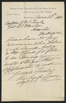 The letter is handwritten in brown ink on Sailors' Snug Harbor letterhead, which is printed on cream-colored paper. The sheet has been folded several times and has a distinct vertical fold dividing the paper in half.