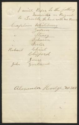 The list is handwritten in brown ink on cream-colored paper with faint blue lines. It has been folded several times and a prominent fold divides the sheet in half vertically.