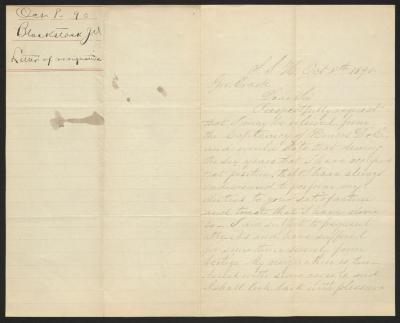 The letter is handwritten in very faded brown ink on cream-colored paper with faint blue lines. It has been folded in half; on the right half of this side of the paper is the first page of the letter. On the left half is a notation in the upper corner with the name of the sender, date, and subject of the inquiry, probably for filing purposes. There is a tear down the central fold from the top edge.