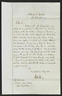 The letter is handwritten in brown ink on cream-colored paper with faint blue horizontal lines. There is red and blue vertical lines on the left side of the pages, presumably for indenting the text. It has been folded several times horizontally.