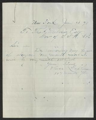 The letter is handwritten in blue-green ink on cream-colored paper with faint blue lines. It has been folded several times.