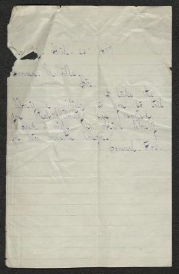 The letter is handwritten in purple ink on cream-colored paper with faint blue lines. It has been folded several times. The is some tearing in the upper left corner.