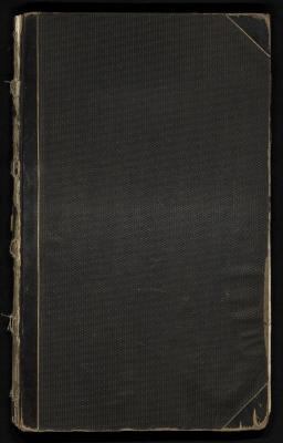 The cover is bound in a textured black leather with simple gold lines at the corners and spine.