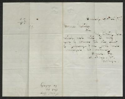 The letter is handwritten in brown ink on cream-colored paper with faint blue lines. It has been folded in half; on the right half of this side of the paper is the letter. On the left half is a notation at the lower edge, just to the left of the central vertical fold, with the name of the sender, date, and subject of the letter, probably for filing purposes.