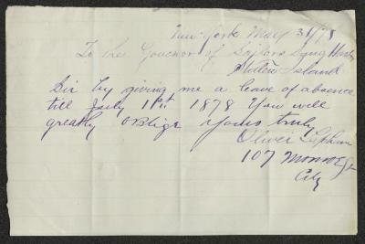 The letter is handwritten in purple ink on cream-colored paper with faint blue lines. It has been folded several times.