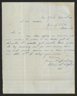 The letter is handwritten in blue ink on cream-colored paper with faint blue lines. It has been folded several times.