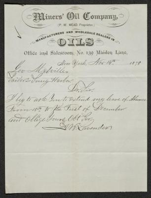 The letter is handwritten with dark brown ink on Miners' Oil Company letterhead, which is on cream-colored paper with faint blue lines below the header. The sheet has been folded several times