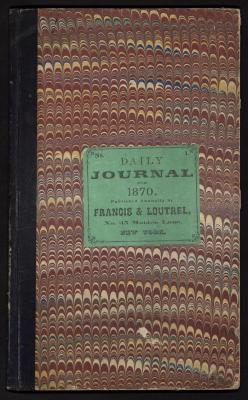 The front cover of the journal is covered in red-toned marbled paper with a black spine and a green label in the center of the cover noting that it is a Daily Journal for 1870, published by Francis & Loutrel.