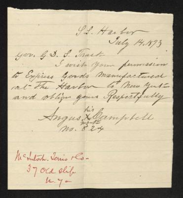 The letter is handwritten in brown ink on cream-colored paper with faint blue lines. It has been folded several times. There is a notation in the bottom left corner, written in red ink.