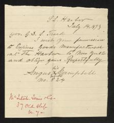 Letter to Captain Gustavus D. S. Trask, Governor of Sailors' Snug Harbor, from Angus Campbell, July 14, 1893