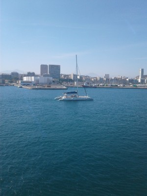 A picture of a spanish catamaran sailboat as the TSES pulls into Alicante.