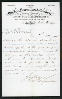 This letter is handwritten on Phelps, Doremus & Corbett letterhead, which is on cream-colored paper with blue lines below the header. The sheet has a distinct vertical fold down the length of the paper. The writing is fine, in brown ink.