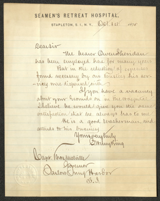 This handwritten letter is on Seamen's Retreat Hospital letterhead, consisting of cream-colored paper with blue lines. The ink is brown and the letter itself has a lighter rectangular void on the left side, perhaps left by another piece of paper in contact with that of this letter.