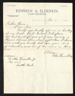 The letter is handwritten with dark brown ink on Kennedy & Elderkin letterhead, which is on cream-colored paper with faint blue lines below the header. The sheet has been folded several times.