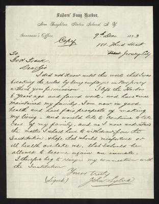 The letter is handwritten copy with dark brown ink on Sailors' Snug Harbor letterhead, which is on cream-colored paper with faint blue lines below the header. The sheet has been folded several times.