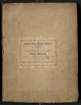 Turnbull's Voyage Round the World. Cover. The hardbound book is covered with a paper dust jacket, to which is affixed a printed Sailors' Snug Harbor library label in the center of the cover. The book number is recorded as 3299. The dust cover is stained and shows some damage at the corners and edges.