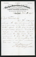 Letter to Captain Thomas Melville, Governor of Sailors' Snug Harbor, from Chas. [Charles] B. Reynolds, of Phelps, Doremus & Corbett, November 4, 1875