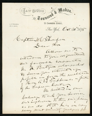 "Handwritten letter on cream-colored paper in dark brown ink. The paper has the letterhead of the ""Law Office of Townsend & Mahan""."