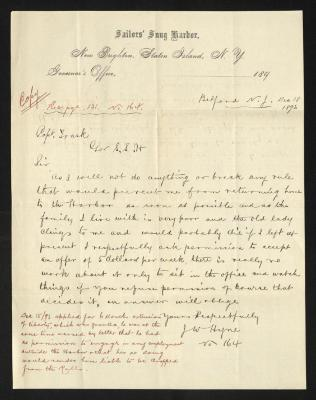 The letter is handwritten with dark brown ink on ORGANIZATION letterhead, which is on cream-colored paper with faint blue lines below the header. The sheet has been folded several times and there is a notation on the bottom with the context of the letter, presumably for filing purposes.