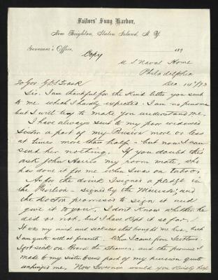 This side of the page contains the first part of the letter, handwritten with dark brown ink on Sailors' Snug Harbor letterhead, which is on cream-colored paper with faint blue lines below the header. The sheet has been folded several times.