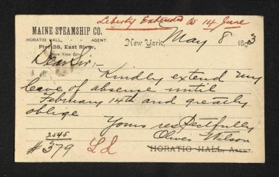 This side of the postal card contains the handwritten letter, written in brown ink on a Maine Steamship Co. letterhead.