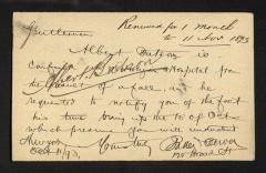 Postcard from Baller Dewey [sp?], October 11, 1893