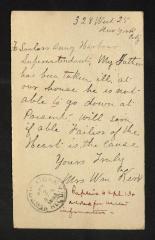 Postcard to Superintendent of Sailors' Snug Harbor, from Mr. Wm [William] Kerz [sp?], April 12, 1893