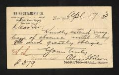 Postcard to Mr. J. [Joseph] K. Clark, Steward, Sailors' Snug Harbor, from Oliver Wilson, April 17, 1893
