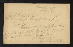 Postcard to Captain George [Gustavus D.] S. Trask, Governor of Sailors' Snug Harbor, from E. [Emma] S. Norie, May 1, 1893