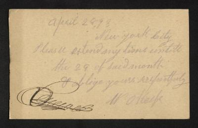 This side of the postal card contains the handwritten letter, written in purple ink.