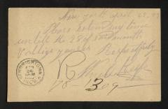 Postcard to Governor of Sailors' Snug Harbor, from W. [William] O'Keefe, April 22, 1893